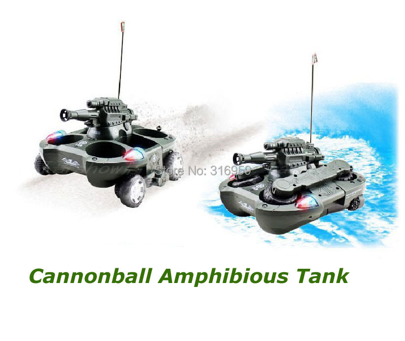 New Army Amphibious RC Tank Lanuch Cannonball Remote Control 6 Channel Simulation Tank M ...