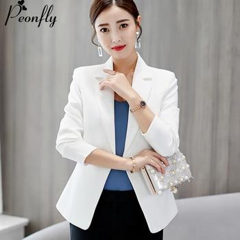 a0b335c96 Peonfly nueva moda recortados Solid Blazer traje chaqueta elegante de las mujeres  blazers trajes y Slim outwear abrigo business casual Chaquetas elegantes ...