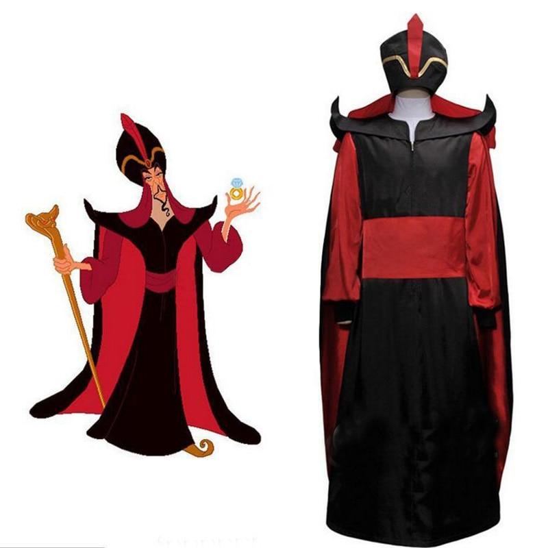Aladdin Jafar Villain Prince Cosplay Costume Halloween Carnival Party Costume Full Set Custom