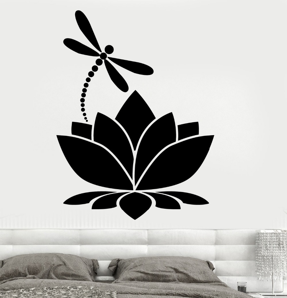 Dsu Removable Wall Decals Lotus Flower Dragonfly