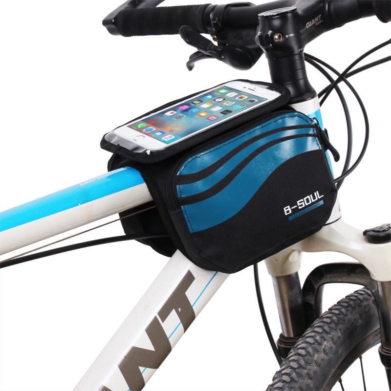 B-SOUL Bicycle Frame Přední hlava Top Tube Waterproof Bike Bag & Double IPouch Cycling for 5.7 in Cell Phone Bike Accessories