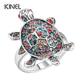 Fashion Animal Rings For Women Inlay Colorful Rhinestones Silver Plating Tortoise Shape Accessories Vintage Jewelry Wholesale