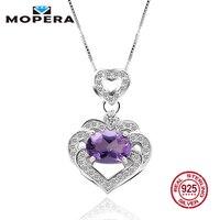 Mopera Naturalny Ametyst Wisiorek Serce 925 Srebro Biżuteria Naszyjniki Kamień Grzywny Biżuteria Ślubna Dla Kobiet