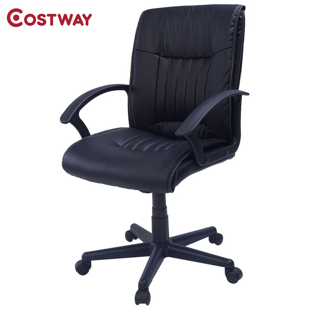 COSTWAY PU Leather Ergonomic Office Chair Armchair Executive Chair Boss Lift Chair Swivel Chair Office Furniture CB10059
