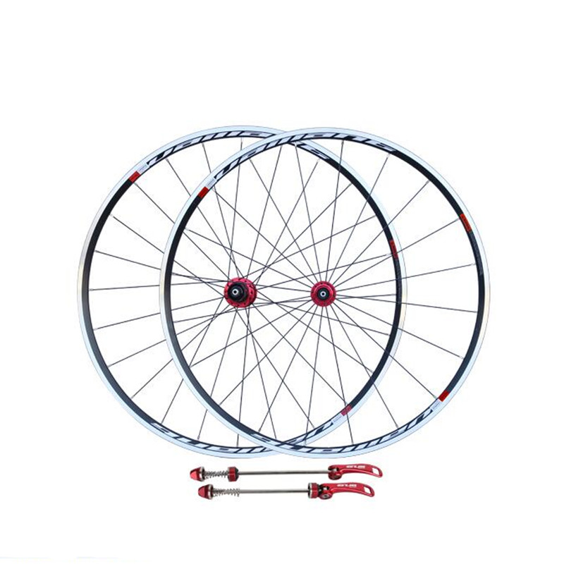 цена на road bike wheels V-brake road bike wheelset high strength flower drum wheel set/700c road bike wheel set front 20H rear 24 holes