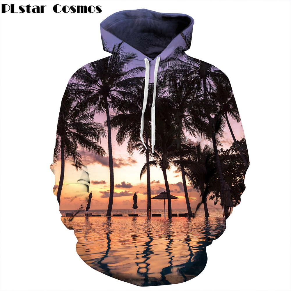 PLstar Cosmos Brand clothing Hoodies Women Men Hooded Sweatshirt Autumn Beach Palm tree 3d Print casual O-Neck Hoody Tracksuits