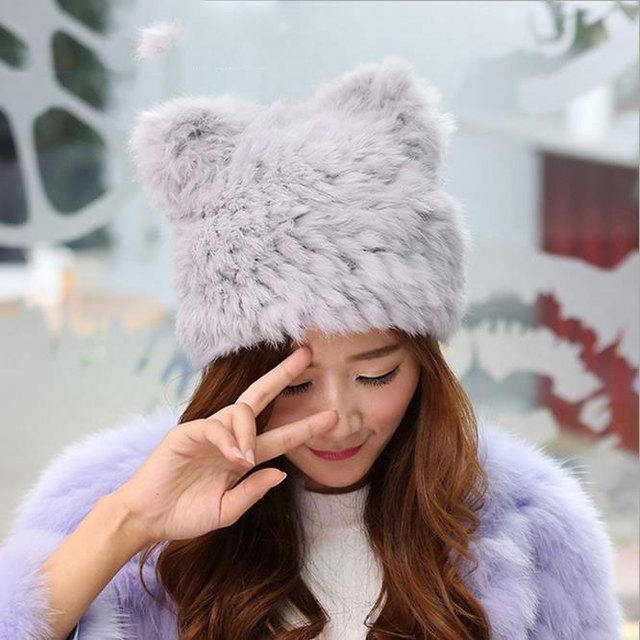 Coringa quente coelho cabelo puro tecelagem manual do tampão do Inverno quente chapéu da forma das senhoras chapéus de pele stuffers da meia para mulheres Livres grátis