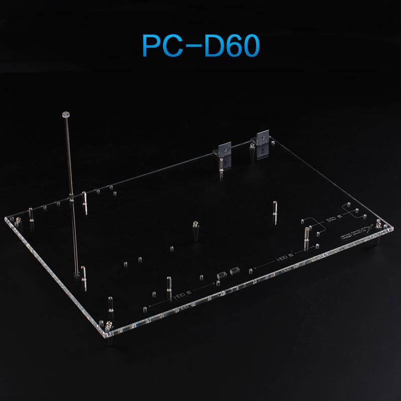 QDIY PC D60 On Sale Personalized Transparent Acrylic Wide Open Standard ATX Chassis Nude Platform Test