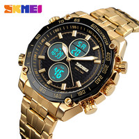 SKMEI Watch Men Relojes Deportivos Sports Watches Golden Stainless Steel Dual Time Digital Quartz Wristwatches Male Clock 1302