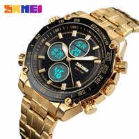 SKMEI hombres Relojes Deportivos oro Acero inoxidable hora Dual Digital de cuarzo reloj masculino 1302