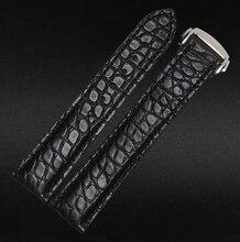 20 мм черный новые люди высокое качество крокодил из натуральной кожи ремешок ремешок серебро развертывания застежка