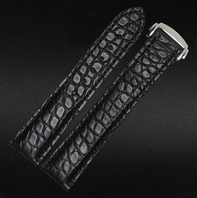 828e719c9fce 20mm Black NEW Men High quality Crocodile Genuine Leather Watch Band Strap  Silver Deployment Buckle Clasp