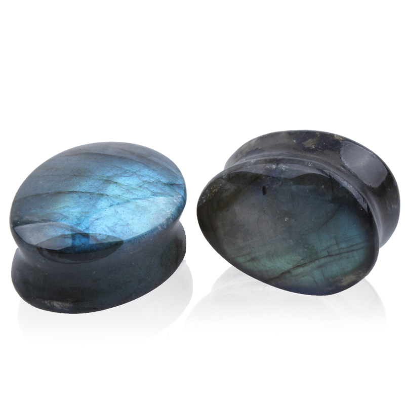 A Pair of Labradorite Stone Piercing Ear Plugs Flesh plugs Tunnels Expander  Fashion Body Jewelry plug Stretch marks for tunnels