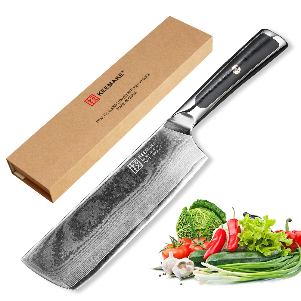 KEEMAKE 7 inch Cleaver Chef Knife Kitchen Knives Damascus Japanese VG10 Steel Sharp Strong Blade G10