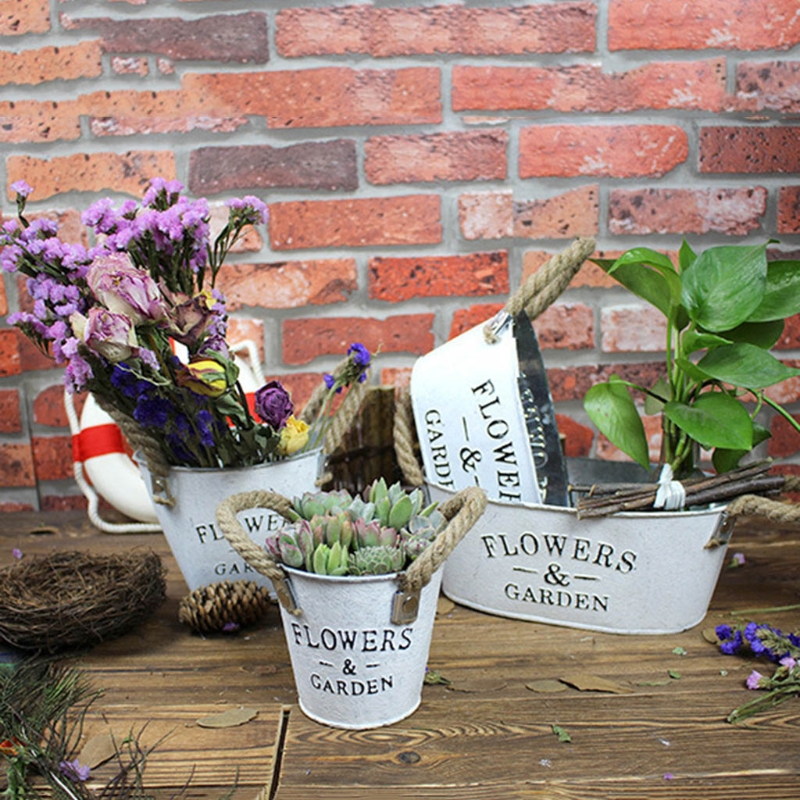 Small Metal Buckets Planters Flower Decorative Vases With Rope Handles