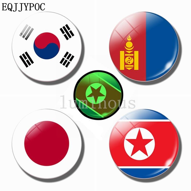 30 мм магнит на холодильник светящийся магнит на холодильник стеклянный Азиатский флаг Япония Корея Монголия светящийся ночью Национальный флаг сувенир
