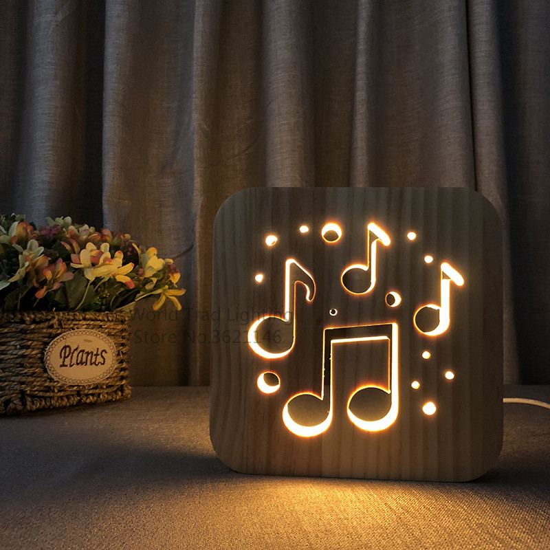 Night Lights Lower Price with Creative Cute 3d Night Light Cello Wooded Frame Usb Power Warm White Light Baby Lamps, Lighting & Ceiling Fans