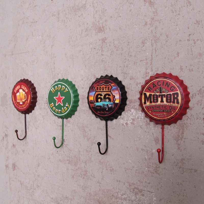 Tampa de cerveja Tampa de Cerveja Criativa Gancho Cabide De Parede Gancho de Ferro Forjado Do Vintage Fivela Casa Acessórios de Decoração Da Parede Da Cozinha Porta
