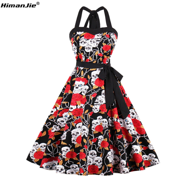 956a14e74b0c HimanJie Retro Vintage Style Sleeveless 3D Skull Floral Printed 2017 Summer  Women Dress Halter Plus Size Party Sexy Casual Dress