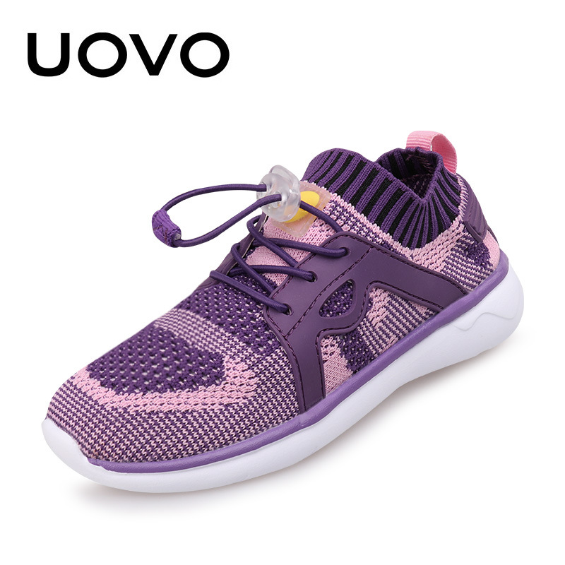 UOVO Fly Knit Kids Shoes Spring Shoes for Boys Girls Breathable Children Sneakers Fashion Sport Trainers Girls Shoes Size 27-37 300w solar system complete kit 3pcs 100w photovoltaic pv solar panel system solar module for rv boat car home solar system