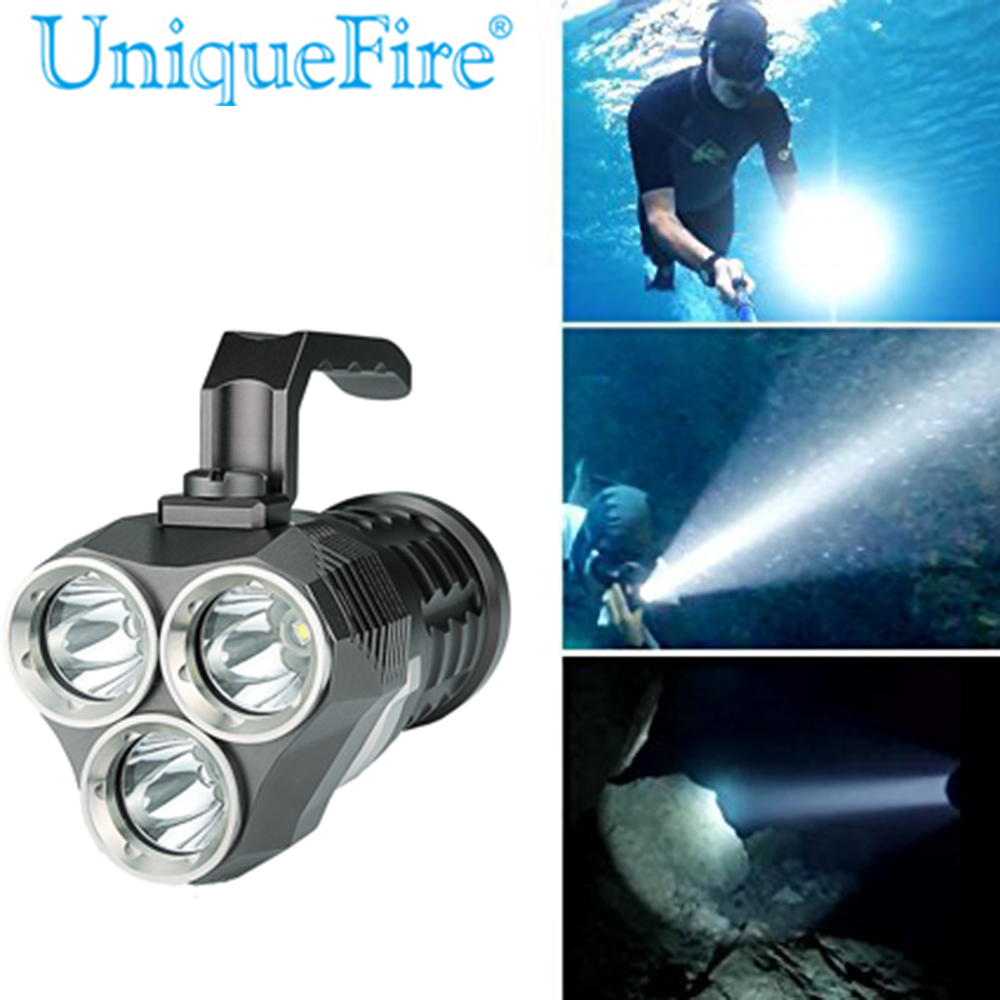 Free Shipping ! UniqueFire 4000 Lumens 4 x XML2 LED Diving Flashlight Torch Waterproof 200m Depth Underwater Diver LED Torch