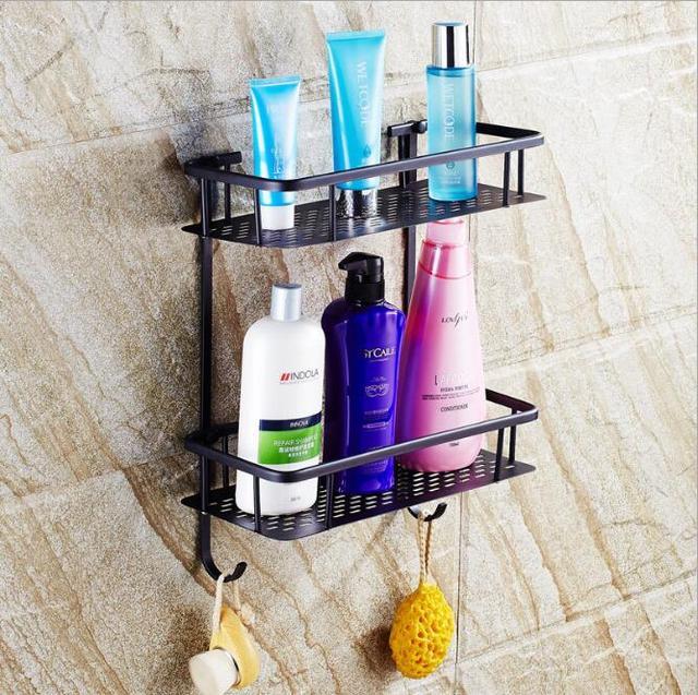 New Arrivals Antique Black Oil Square Soap Holder Dual Tier Bathroom  Shelves Bathroom Shampoo Holder Basket