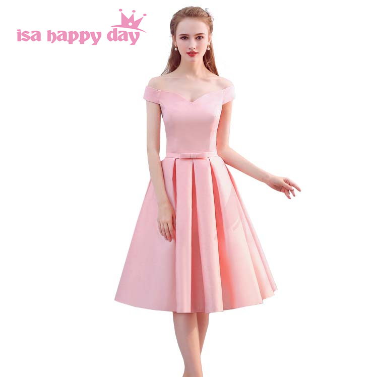 Girls Cheap Satin Girl Boat Neck Bridesmaid Dress Teen Party Dress Size 8 Dresses For Teens 2019 Tea Length Ballgowns H4163