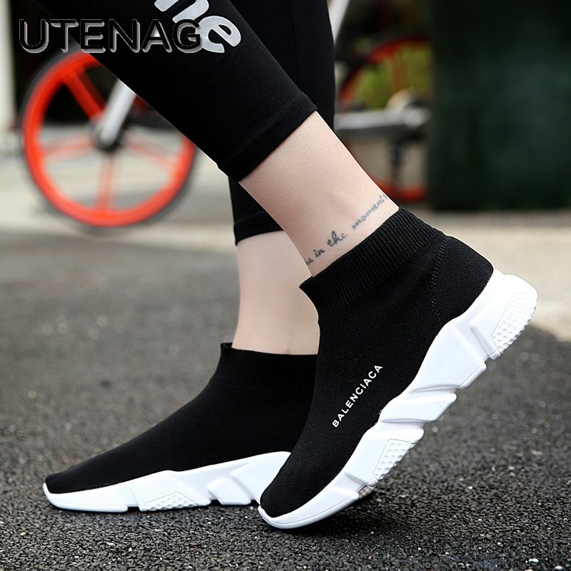 Hot Sale 2018 New Fashion Design Women Ankle Classical Boots Flat Joker Stretch Fabric Short Socks Boots Winter Casual Boots
