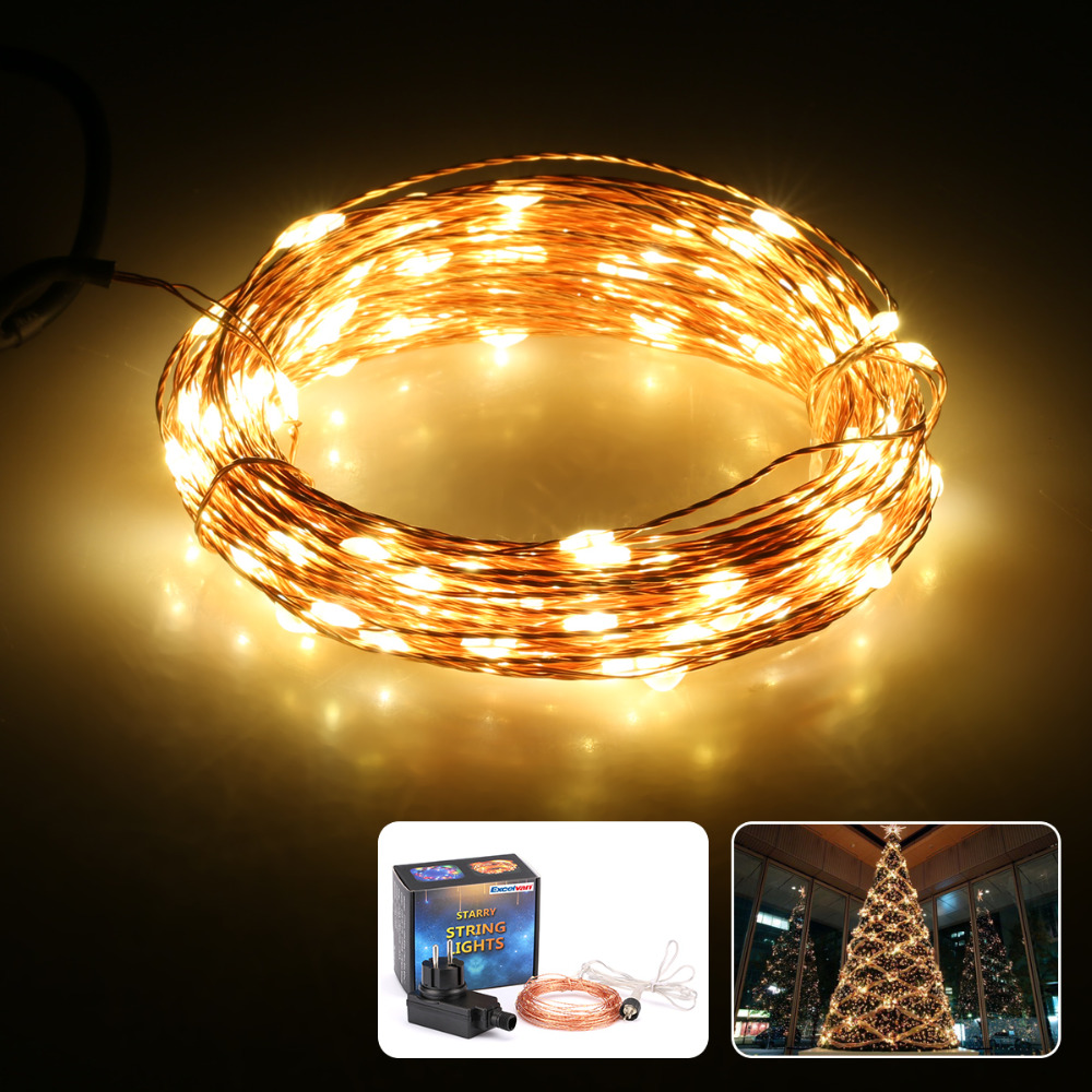 excelvan 10m 100 led waterproof led copper wire string. Black Bedroom Furniture Sets. Home Design Ideas