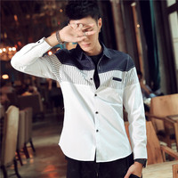 New 2017 Shirt Men Dress Shirt Casual Designer Patchwork Fashion Male Business Shirt Plus Size M~4XL, camisa masculina