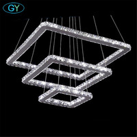 AC100 240V 3 Layers LED Crystal Pendant Lights Modern Square Crystal Chandeliers Hanglamp Home Lighting Lampen