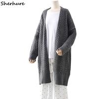d2a4800cd 2018 Thick Women Cardigans Coat Knitting Women Sweater V Neck Gray Sweater  Casaco Feminino Winter Clothes
