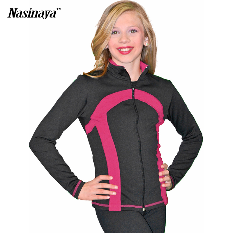 цена  Customized Costume Ice Figure Skating Tops Jacket Gymnastics Black Velvet Warm Fleece Adult Child Girl Clothing Wide Stripe  онлайн в 2017 году