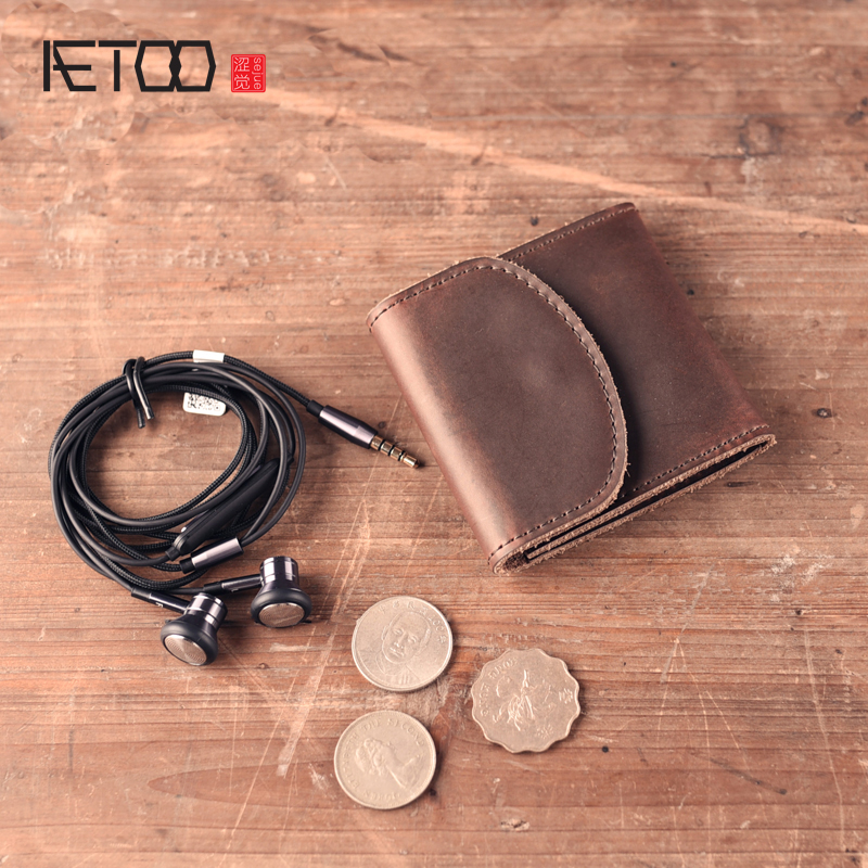 AETOO new fashion Handmade small wallet short leather Handmade leather goods carry buckle retro simple coin wallets
