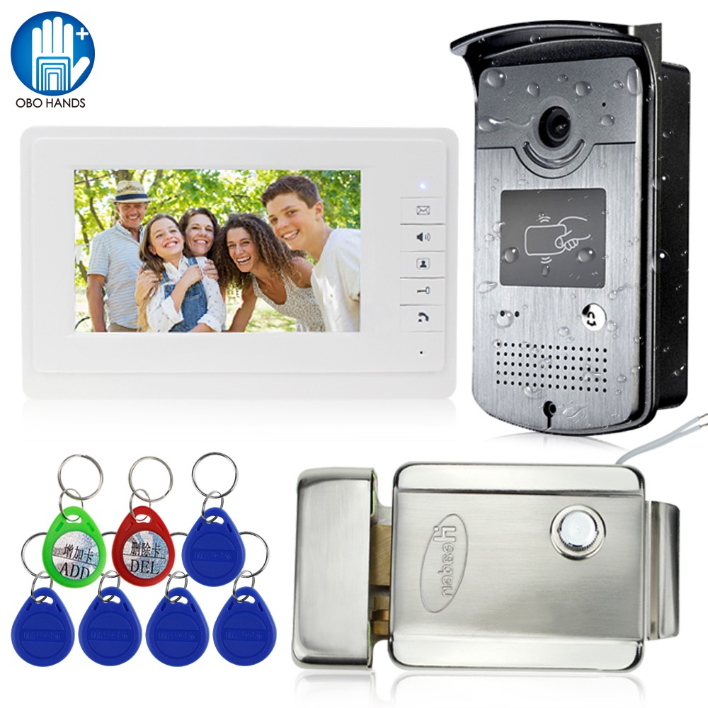 Wired Home 7'' Color Video Intercom RFID Camera with 1 Monitor Video Door Phone 500 user for Apartments with Metal Electric Lock|Video Intercom| |  - title=