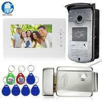 Wired Home 7'' Color Video Intercom RFID Camera with 1 Monitor Video Door Phone 500 user for Apartments with Metal Electric Lock
