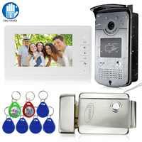 Wired Home 7 ''Farbe Video Intercom RFID Kamera mit 1 Monitor Video Tür Telefon 500 benutzer für Wohnungen mit metall Elektrische Lock