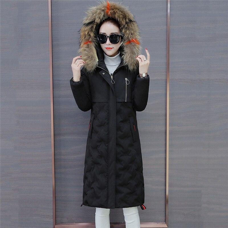 À De Long Grand Femelle Capuche Parkas Supérieure black Jacket Manteau Mince Chaud White Coton pink D'hiver D'extérieur Col Nouvelle Qualité Femmes Mode Fourrure Hiver 725 wqfUEEv