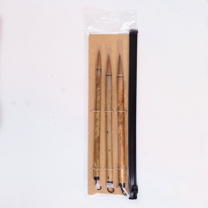 High Quality 3PC/Set BKG-03 Kolinsky Hair Bamboo Handle Chinese Painting Supplies Art Calligraphy Watercolor Paint Brush Set