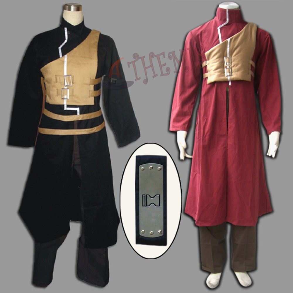 Athemis Anime Naruto Gaara Cosplay Costumes Long Coat Uniform Red and Black Casual Clothes Black Headband Gift Halloween