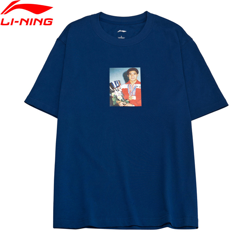 Li-Ning PFW 2018 Men The Trend T-Shirt Mr.OG PRINTING 100% Cotton Short Sleeve LiNing Breathable Sports Tee AHSN863 MTS2822 mens casual 3d personality skull printing short sleeve t shirt cotton sport black tees