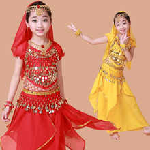 New style Child belly dance set clothes kids indian performance wear 5pcs Short sleeve&Skirt&Belt&Headband&Bracelet VL-292