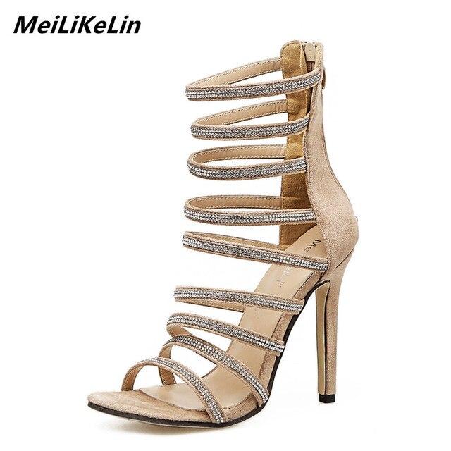 72d77fa55f8b MeiLiKeLin Sexy Caged High Heels Women Summer Boots Thin Heel Rhinestone  Gladiator Sandles Woman Street Beat