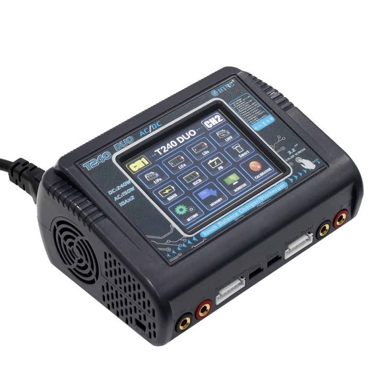 HTRC T240 DUO AC 150 w DC 240 w 10A D'écran Intelligent Double Canal Chargeur De batterie Déchargeur Pour RC drone Multicoptère