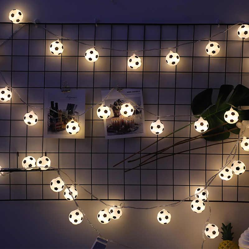 50 Led Cute Football Lantern Battery Plug String Lights Luminaria 5m LED Decoration For Christmas Garland On The Window New Year