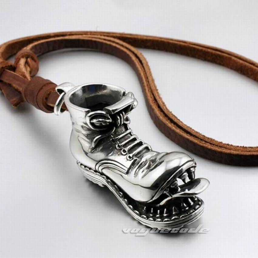 316L Stainless Steel Mens Skull Boot Pendant Genuine Leather Necklace 4S026 Biker Rock Punk Style 316l stainless steel huge heavy skull pendant mens biker punk style aj015 steel necklace 24 inches