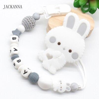Personalized pacifier clip with crochet rabbit Dummy clip chain Baby shower gift Schnullerkette mit Namen Attach\u00e9 tetine