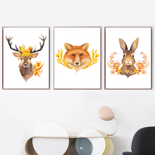 Watercolor Deer Fox Rabbit Wall Art Canvas Painting Nordic Posters And Prints Animal Pictures For Living Room Home Decor