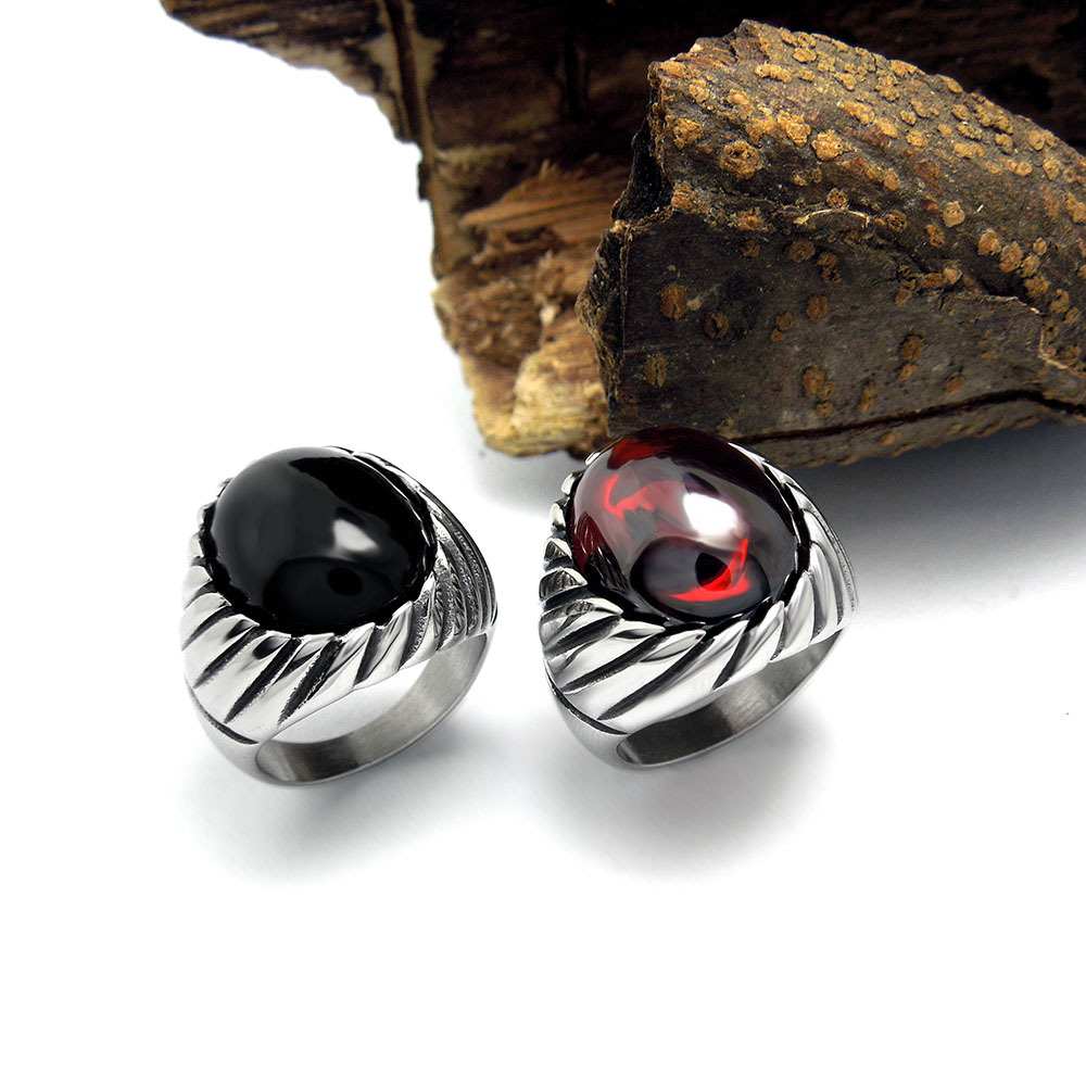 Vintage Gothic Style Acessories 316L Titanium Stainless Steel Black,Red Onyx Ring For Men