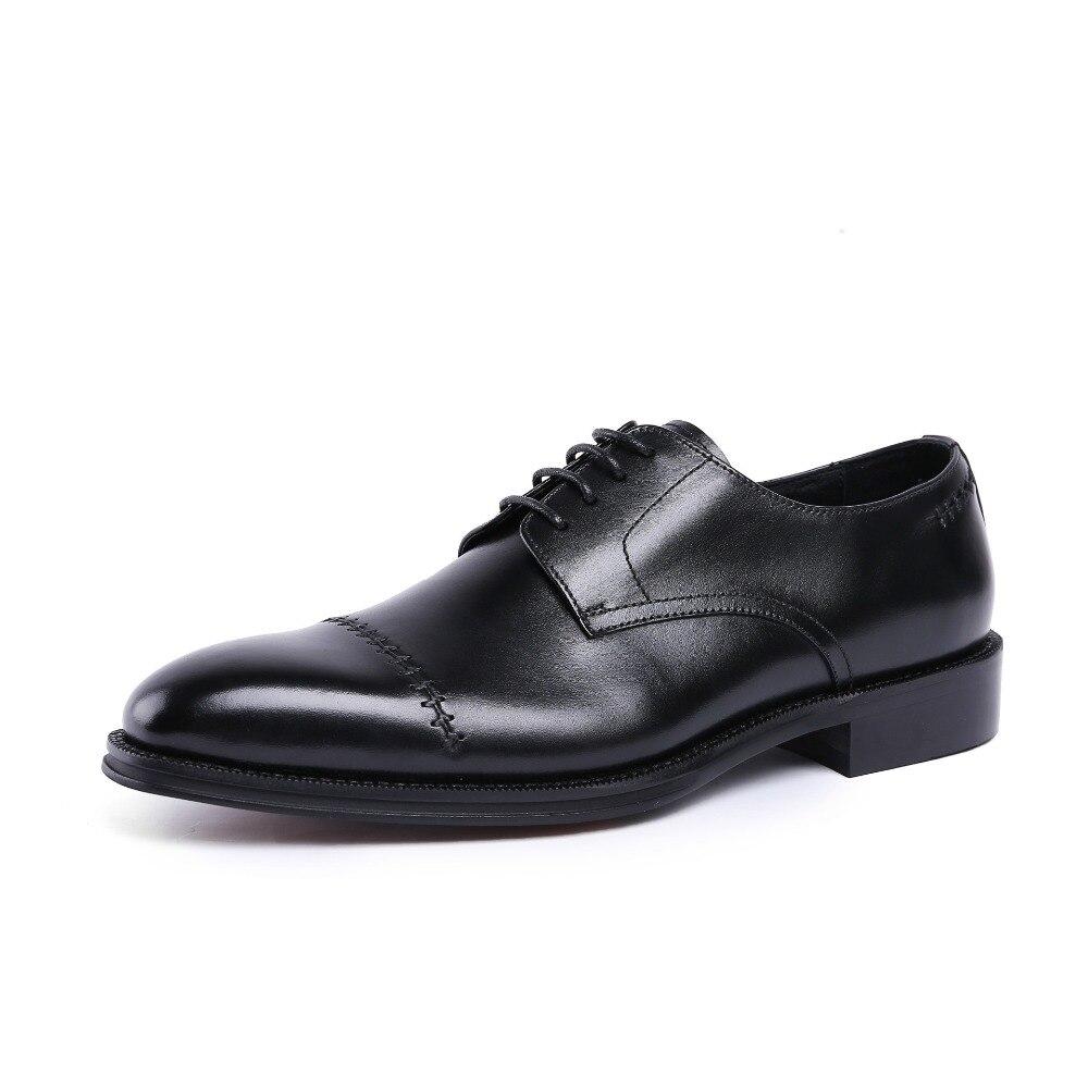 Zapatos Cuero Lace Derby Genuino Nuevos Diseño Boda Trabajo Negocios Up 1 De Moda Punta Vestir Oficina 2 Costura Hombres Redonda qtwXXg04